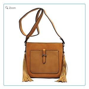 Handbags - NEW Front Pocket Side Fringe Crossbody Bag